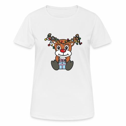 Rentier mit Lichterkette - Frauen T-Shirt atmungsaktiv