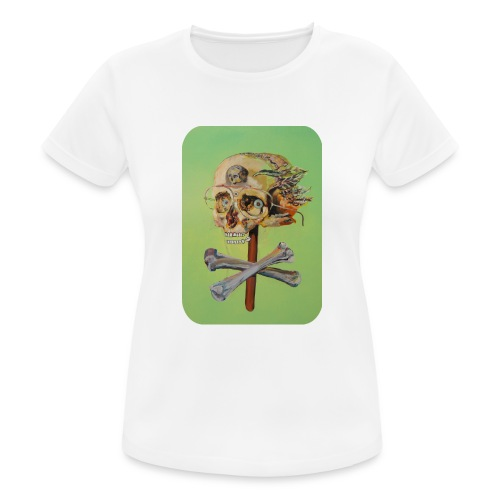 oil painting of skull and bones - vrouwen T-shirt ademend