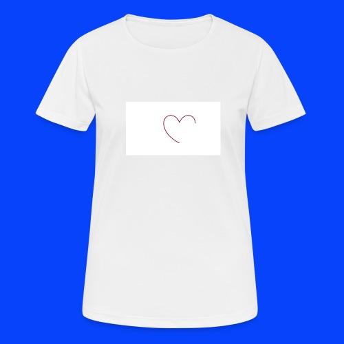 t-shirt bianca con cuore - Maglietta da donna traspirante