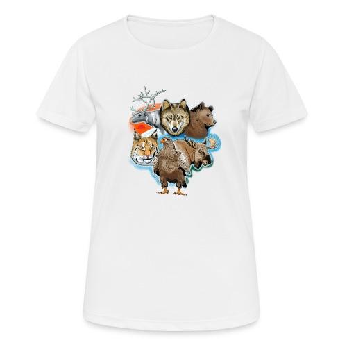 10 01 Wild life - Susi, poro, karhu, ilves, kotka - naisten tekninen t-paita