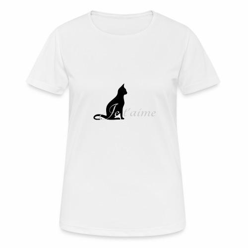 Chat noir - Je t'aime - T-shirt respirant Femme