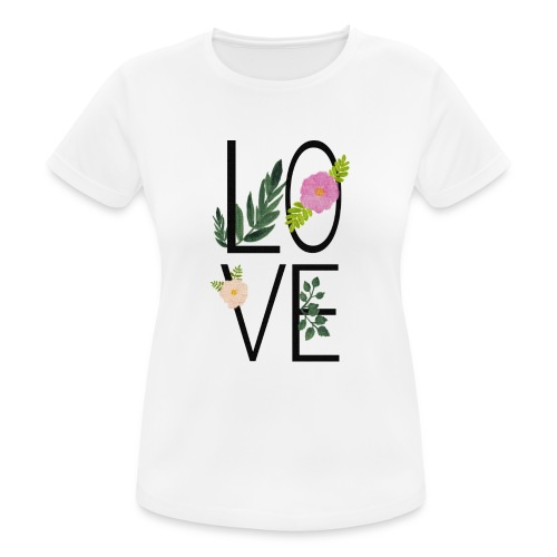 Love Sign with flowers - Women's Breathable T-Shirt