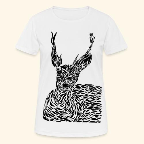 deer black and white - naisten tekninen t-paita