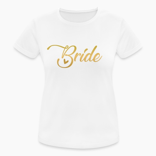 Bride - yellow lettering with a decor. heart - Women's Breathable T-Shirt