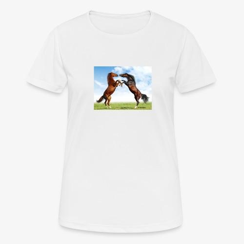 kaksi hevosta - naisten tekninen t-paita
