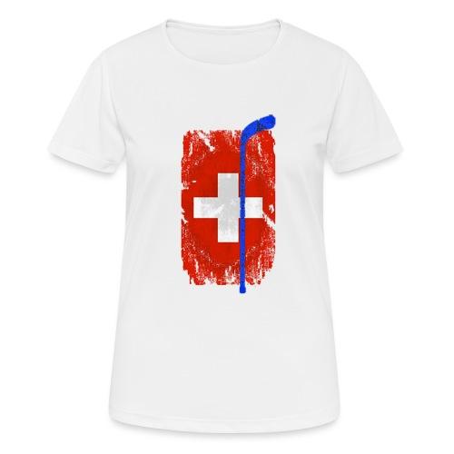 Schweizer Flagge Hockey - Frauen T-Shirt atmungsaktiv
