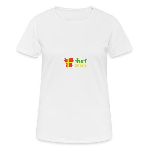 Turf Skåne Logo gul - Andningsaktiv T-shirt dam