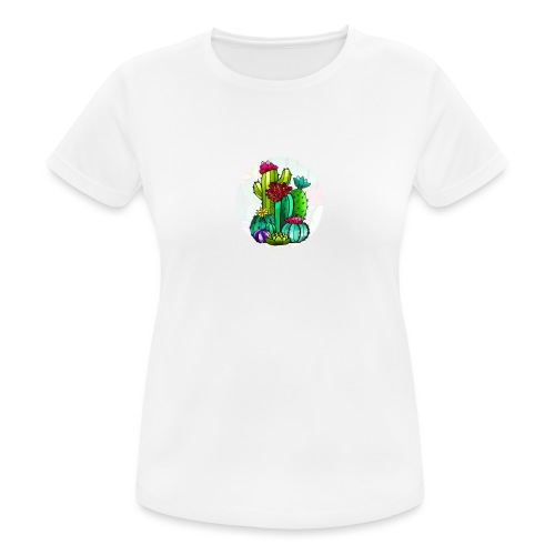 Cactus and flowers - Camiseta mujer transpirable