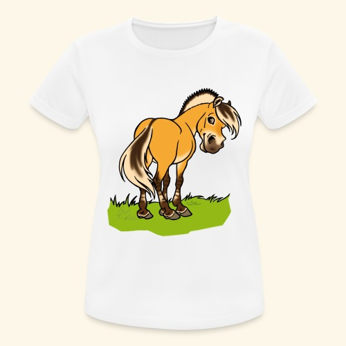 Freundliches Fjordpferd (Ohne Text) Weisse Umrisse - T-shirt respirant Femme