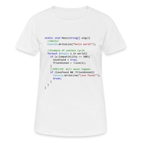 Love seen by a C# programmer - Maglietta da donna traspirante