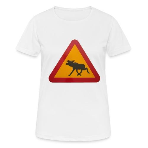 Warnschild Elch - Frauen T-Shirt atmungsaktiv