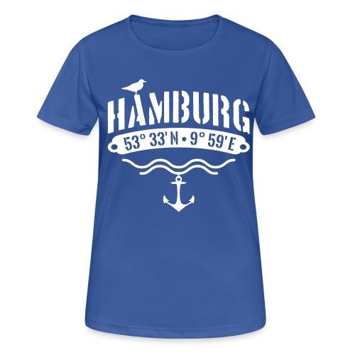 Hamburg Koordinaten Anker Möwe Längengrad - Frauen T-Shirt atmungsaktiv