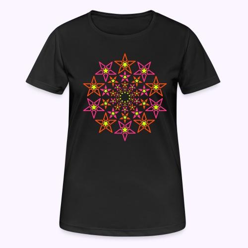 fractal estrella 3 color neón - Camiseta mujer transpirable