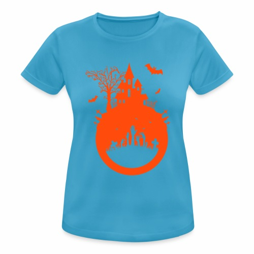 Halloween Design - Das Spukhaus - Frauen T-Shirt atmungsaktiv