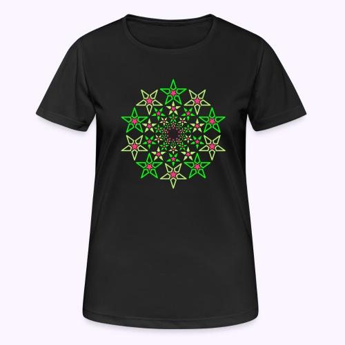 Fractal Star 3 -värinen neon - naisten tekninen t-paita