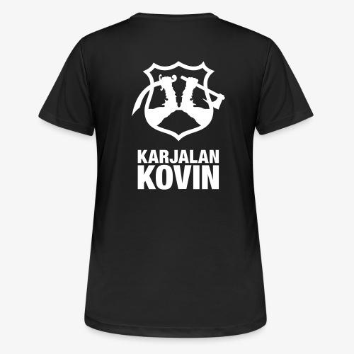karjalan kovin logo pysty cmyk - naisten tekninen t-paita