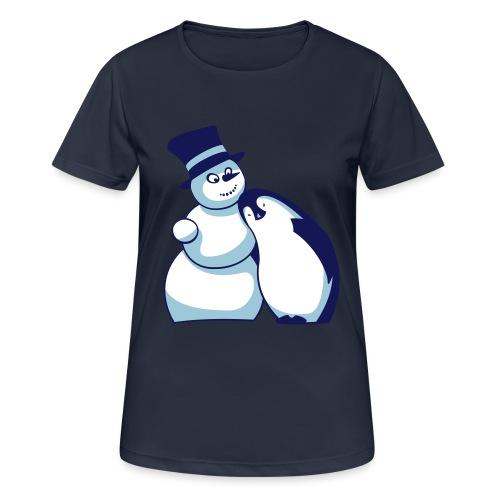 Schneemann und Pinguin - Frauen T-Shirt atmungsaktiv
