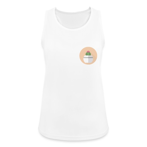 Flat Cactus Flower Round Potted Plant Motif - Women's Breathable Tank Top