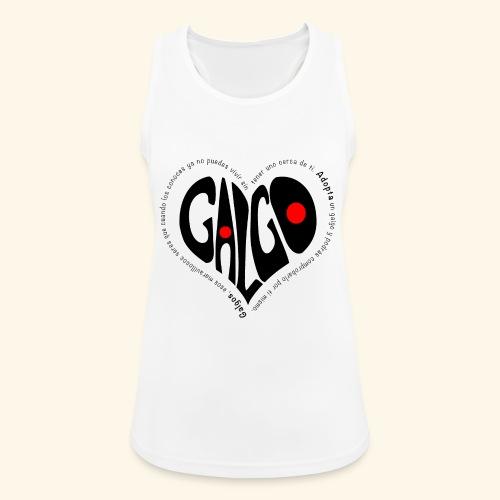 Corazon Galgo texto Negro - Camiseta de tirantes transpirable mujer