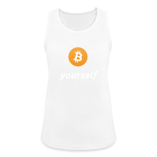 cryptocool b yourself white font -bitcoin logo - Vrouwen tanktop ademend actief