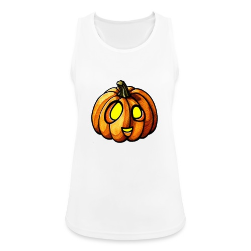 Pumpkin Halloween watercolor scribblesirii - Naisten tekninen tankkitoppi