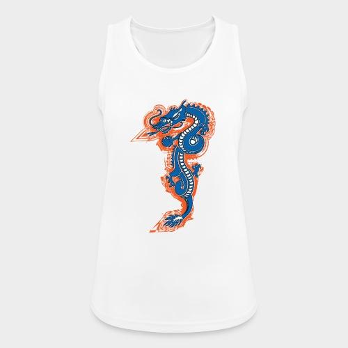 DRAGON AZUL Y NARANJA - Camiseta de tirantes transpirable mujer