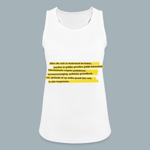 Nederlandse Grondwet T-Shirt - Artikel 1 - Vrouwen tanktop ademend actief