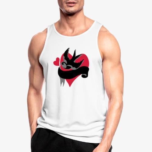 retro tattoo bird with heart - Men's Breathable Tank Top