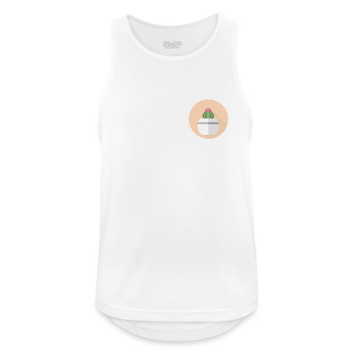 Flat Cactus Flower Round Potted Plant Motif - Men's Breathable Tank Top