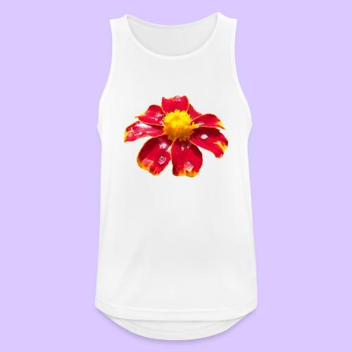 rote Ringelblume mit Regentropfen, Blume, Blüte - Männer Tank Top atmungsaktiv