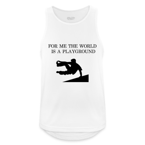 THE WORLD IS A PLAYGROUND - Andningsaktiv tanktopp herr