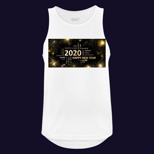 90911595 black golden new year card with happy new - Männer Tank Top atmungsaktiv