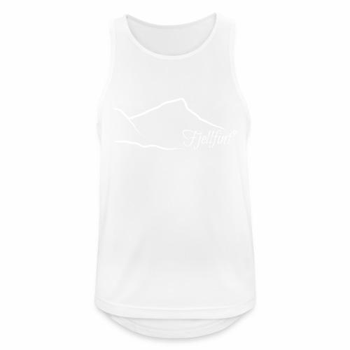 Hvit rektangulær logo - Pustende singlet for menn