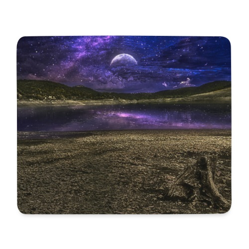 Night moon stars light water amazing - Mousepad (Querformat)