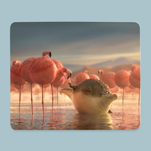 Rollin'Wild - crocodile and flamingos - Mouse Pad (horizontal)