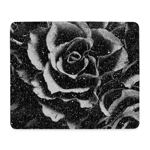 Vintage rose black and white floral mask - Mouse Pad (horizontal)
