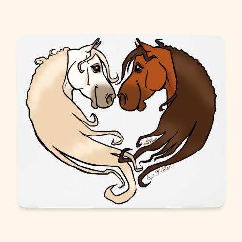 Chevaux amoureux bai-gris - Tapis de souris (format paysage)