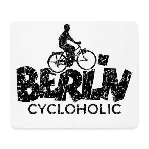 Berlin Cycloholic (Vintage/Schwarz) Fahrradfahrer - Mousepad (Querformat)