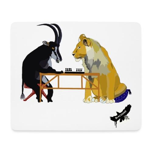 Playing Senet by BlackenedMoonArts, colour w. logo - Mousepad (bredformat)
