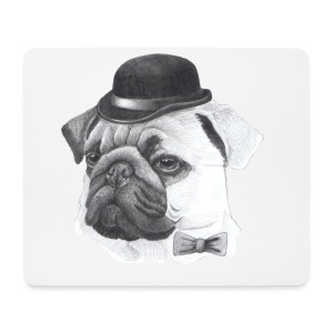 pug with bowler - Mousepad (bredformat)