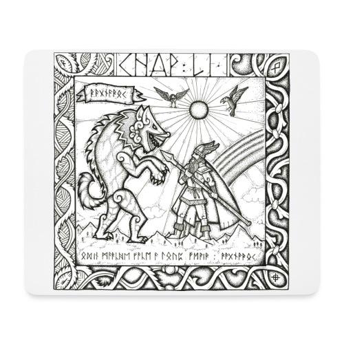 Le Dieu Odin contre le loup Fenrir - Tapis de souris (format paysage)