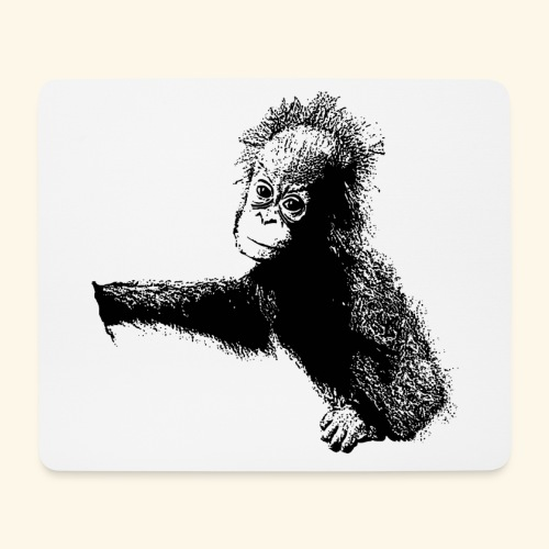 Orang-Utan-Baby schwarz - Mousepad (Querformat)