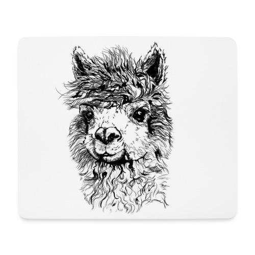 Alpaka Black & White - Einseitig - Mousepad (Querformat)