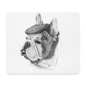 French Bulldog w/beret - Mousepad (bredformat)