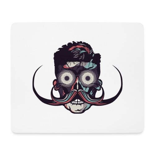 hipster tete de mort crane barbu skull moustache b - Tapis de souris (format paysage)