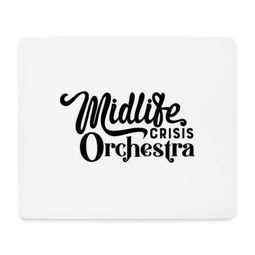 Midlife Crisis Orchestra svart logo - Musmatta (liggande format)