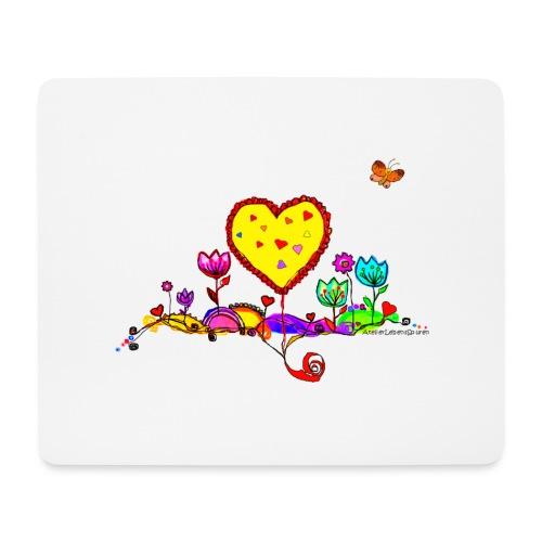 Blumengruß mit Herz - Mousepad (Querformat)