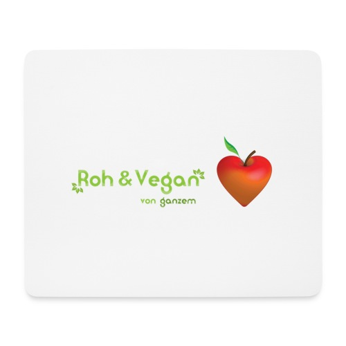 Roh & Vegan rotes Apfelherz (Rohkost) - Mousepad (Querformat)