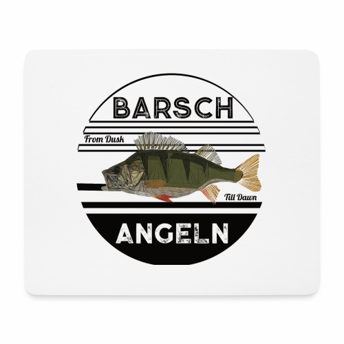 Retro Barsch angeln Schwarz - Mousepad (Querformat)