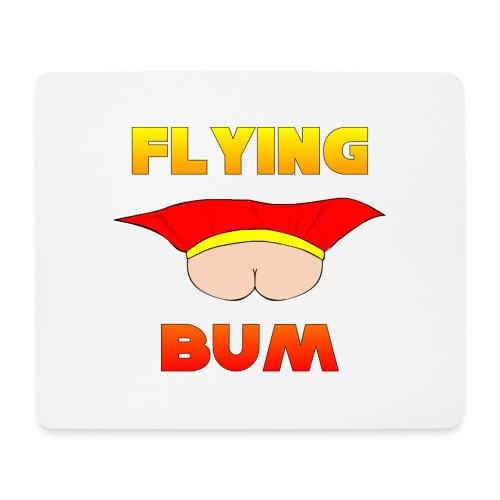 Flying Bum (face on) with text - Mouse Pad (horizontal)